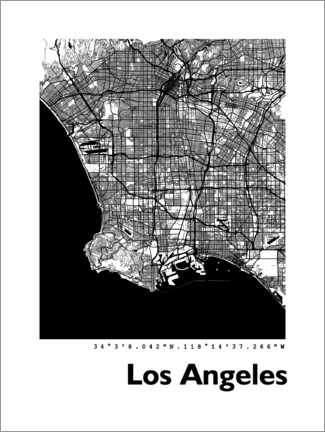 Premiumposter  Los Angeles city map - 44spaces