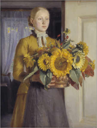 Canvastavla  The girl with the sunflowers - Michael Peter Ancher