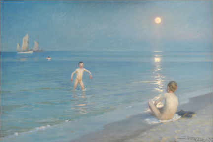 Självhäftande poster  Boys bathing on a summer evening on Skagen beach - Peder Severin Krøyer