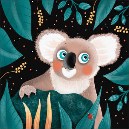 Premiumposter  Smiling koala with blue eyes - WACHtraum