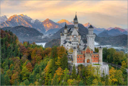 Premiumposter  Neuschwanstein Castle in early autumn - Michael Valjak