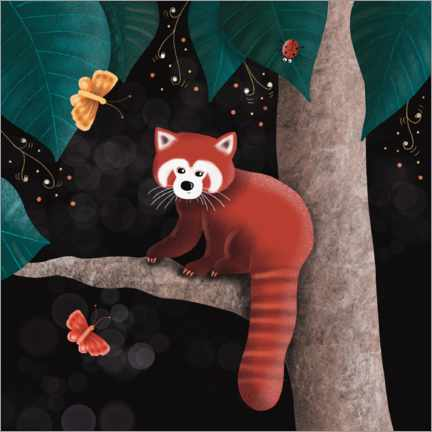 Premiumposter Red panda on a tree