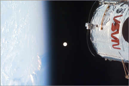 Premiumposter Earth, Moon and Hubble