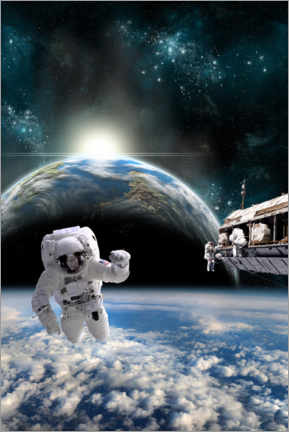 Premiumposter Astronauts on the space station