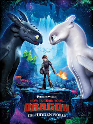 Självhäftande poster  The Hidden world - Toothless & Light Fury