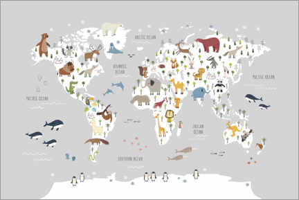 Canvastavla  World map with animals (grey) - Marta Munte