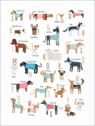 Premiumposter Dogs with clothes alphabet