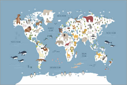 Premiumposter World map with animals (blue)