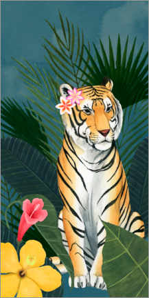 Premiumposter Tiger in the tropical sea of flowers