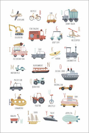 Premiumposter  My vehicles ABC (english) - Marta Munte