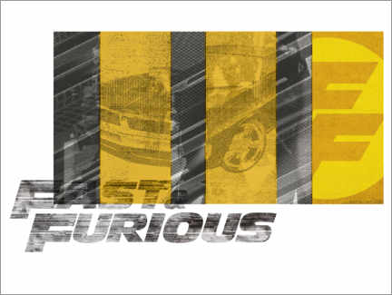 PVC-tavla  Fast & Furious - Yellow stripes
