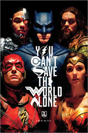 Canvastavla  Justice League - Can't save the world alone