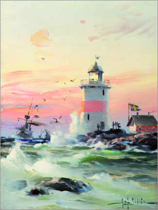 Trätavla  Coastal landscape with a lighthouse - Herman af Sillén