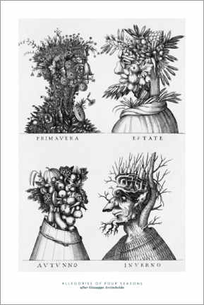Premiumposter Allegories of four seasons (after Giuseppe Arcimboldo)