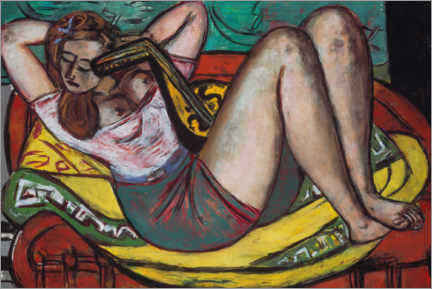 Trätavla  Woman with a mandolin in yellow and red - Max Beckmann