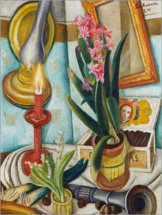 Premiumposter  Still life with a burning candle - Max Beckmann