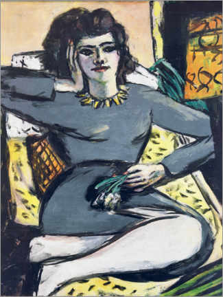 Premiumposter  Resting Woman with Carnations, Portrait Quappi - Max Beckmann