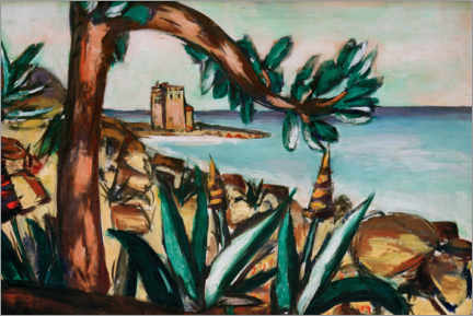 Galleritryck  Seascape with an old castle and agaves - Max Beckmann