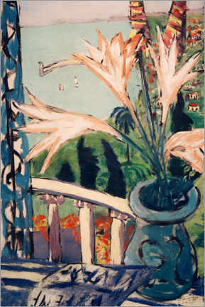 Aluminiumtavla  View of Menton with a lily pot - Max Beckmann