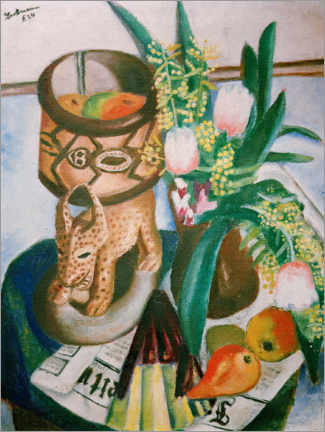 Premiumposter  Still life with African plastic - Max Beckmann