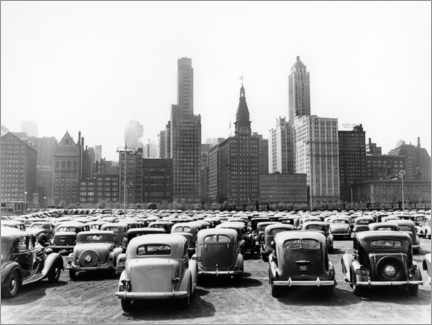 Canvastavla  Classic cars in front of the Chicago skyline