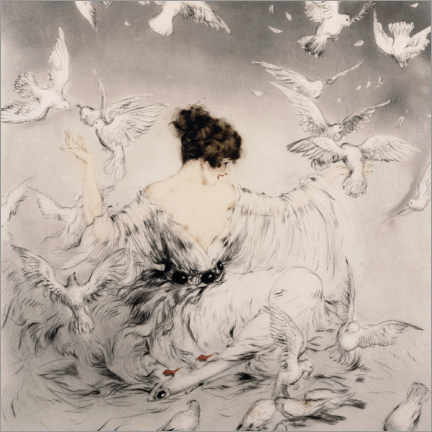 Canvastavla  Girl with pigeons - Louis Icart