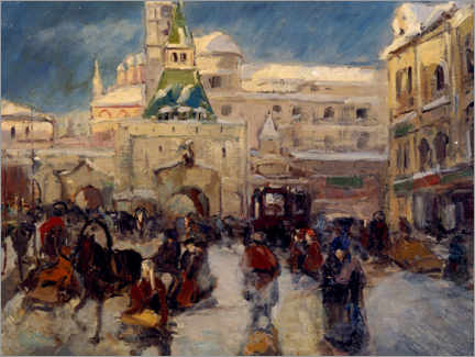 Premiumposter  The Ilyinskaya Square with the Ilyinsky Gate in Moscow - Georgi Alexandrowitsch Lapschin