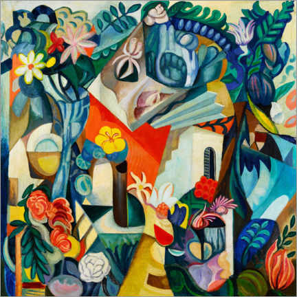 Aluminiumtavla  Composition with house and flowers - Hélène Oettingen