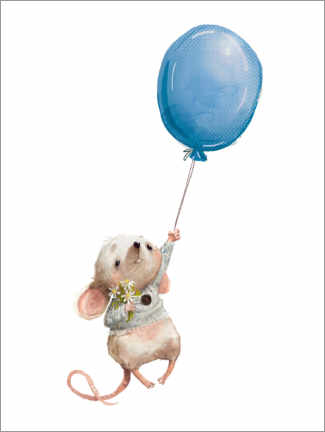 Canvastavla  Little mouse with balloon - Kidz Collection