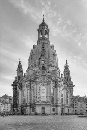 Premiumposter  Frauenkirche in Dresden black and white - Michael Valjak