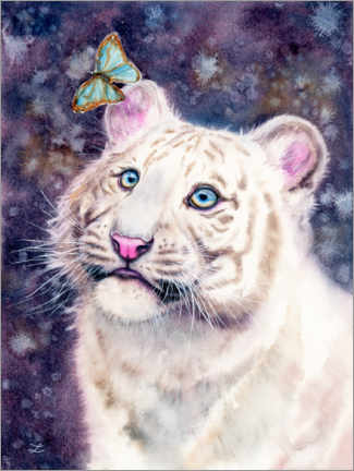 Premiumposter White Tiger Cub and Butterfly