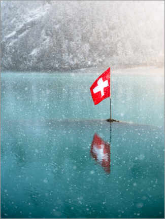 Premiumposter Swiss flag in the Oeschinensee