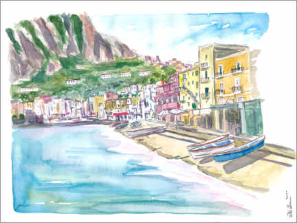 Premiumposter Marina Grande Capri quiet morning with boats and waterfront