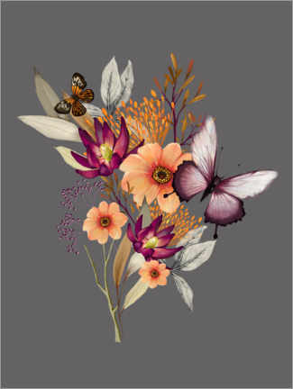 Premiumposter Floral with butterflies II