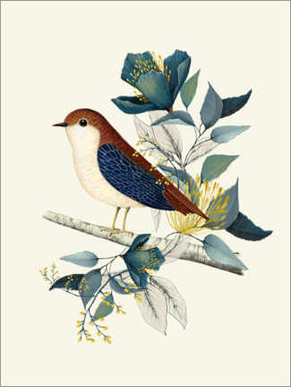 Premiumposter Floral with bird I