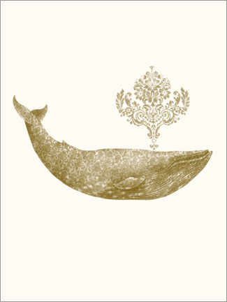 Premiumposter  The Damask Whale - gold option - Terry Fan