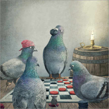 Premiumposter  Checker playing pigeons - Terry Fan