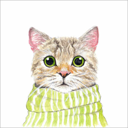 Premiumposter Cute cat with green eyes and scarf