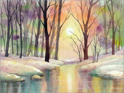 Akrylglastavla  Winter impression in color - Jitka Krause