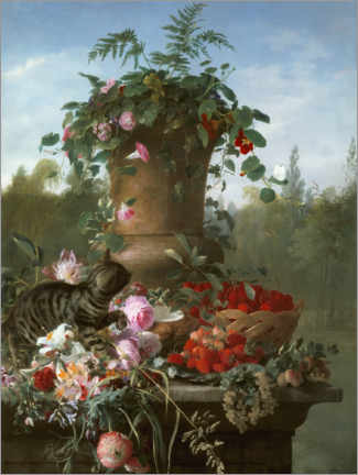Självhäftande poster  Still life with flowers and fruits on a stone slab - François Antoine de Bruycker