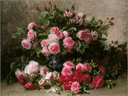 Canvastavla  Still life with pink and red roses - Jean Capeinick