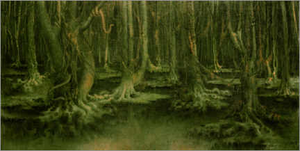 Trätavla  The leper forest - William Degouve de Nuncques