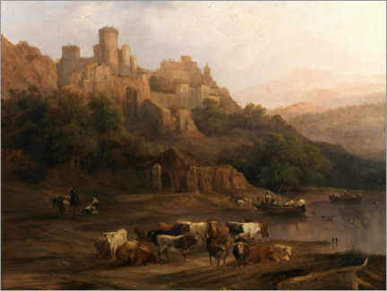 Akrylglastavla  A herd of bulls by the river and a castle above - Genaro Pérez Villaamil Duguet