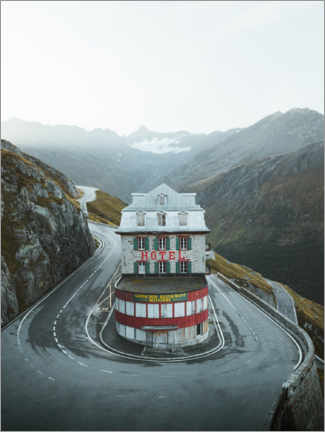 Premiumposter  Hotel Belvedere at the Swiss Furka Pass - Lukas Saalfrank