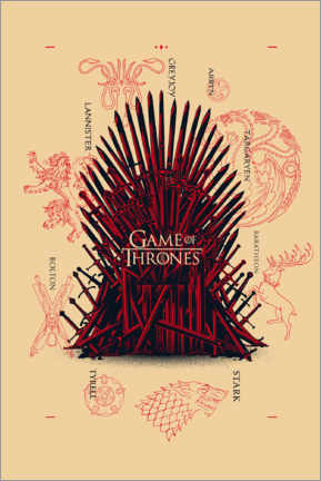 Premiumposter  GOT - throne and houses