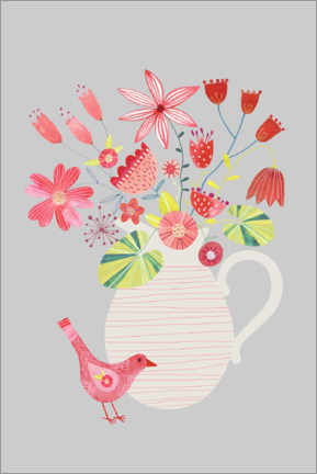 Premiumposter Bird with a Jug of Flowers