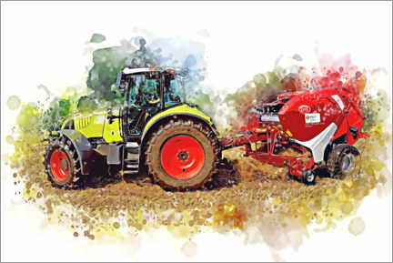 Premiumposter  Tractor with baler - Peter Roder