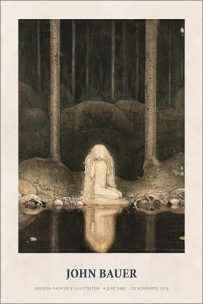 Premiumposter  John Bauer - Princess Tuvstarr gazing down - Museum Art Edition