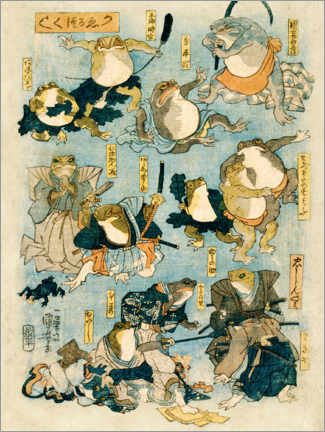 Premiumposter Famous heroes of the kabuki stage played by frogs