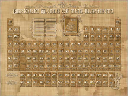Premiumposter  Periodic table of elements gothic beige - Bekim Mehovic